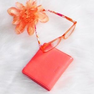 Fossil Leather Billfold Mini Wallet Coral